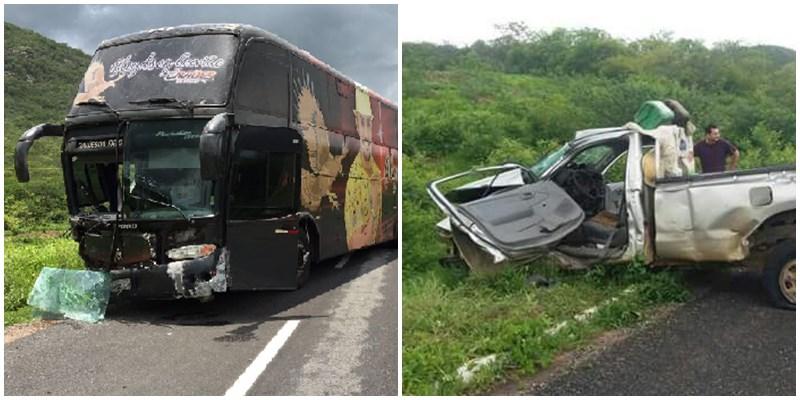 Ônibus do Gaviões do Forró se envolve em colisão frontal com Caminhonete ; Confira!