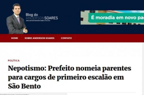 Imprensa de João Pessoa fala de nepotismo na Prefeitura de São Bento; Prefeito respondeu
