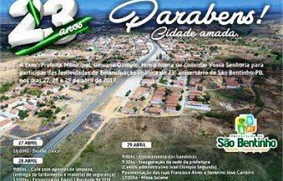 São Bentinho/PB celebra neste Sábado 23 anos de Emancipação Política