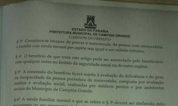 Famílias de pacientes com microcefalia vão ganhar 'bolsa' de R$ 500 e casa em CG na PB