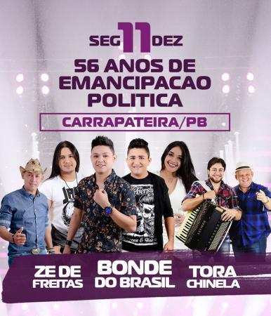 Prefeitura de Carrapateira divulga atrações da festa de emancipação política