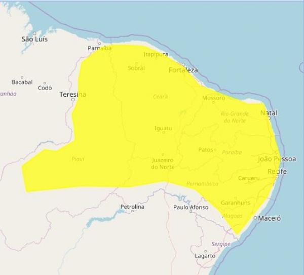 Alerta de chuvas para todas as cidades da Paraíba é prorrogado